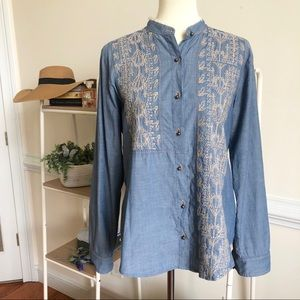 ANTHROPOLOGIE TINY chambray embroidered tunic M